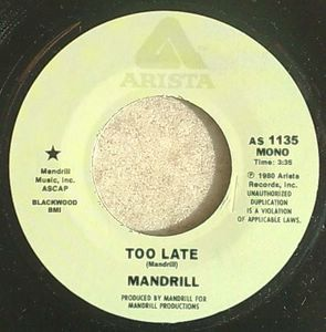 MANDRILL / JEFF PERRY - Too late / Love don't come no stranger - 7inch (SP)
