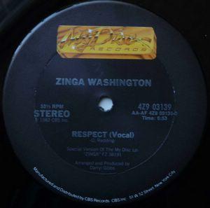 ZINGA WASHINGTON - Respect / Instrumental - 12 inch 33 rpm