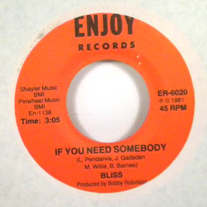 BLISS - If you need somebody - 45T (SP 2 titres)