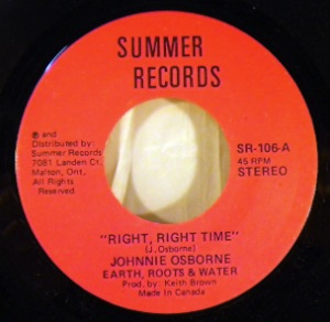 JOHNNIE OSBORNE EARTH ROOTS & WATER - Right Right Time - 7inch (SP)
